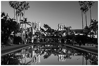 House of Hospitality and Casa de Balboa at sunset. San Diego, California, USA ( black and white)