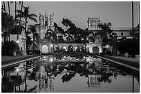 Casa de Balboa, Colonade, and House of Hospitality at dusk. San Diego, California, USA ( black and white)