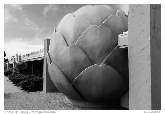 Giant Artichoke and restaurant, Castroville. California, USA (black and white)