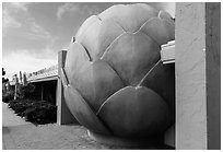 Giant Artichoke and restaurant, Castroville. California, USA ( black and white)
