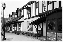Andersen's half-timbered building. California, USA ( black and white)
