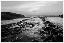 Rocky rib at sunset, Montana de Oro State Park. Morro Bay, USA ( black and white)