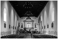 Chapel interior, Mission San Luis Obispo de Tolosa. California, USA ( black and white)