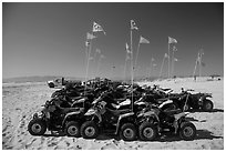 Dune buggies for rent, Pismo Beach, Oceano. California, USA ( black and white)