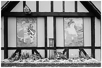 Mural decor on danish-style building. Solvang, California, USA ( black and white)