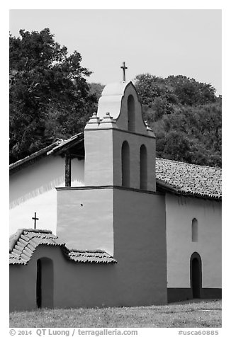Bell tower, La Purisma Mission. Lompoc, California, USA (black and white)