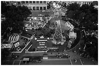 Aerial view of Christmas in the Park. San Jose, California, USA ( black and white)