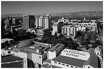 Aerial view of dowtown, City National Civic, and Plaza Cesar Chavez. San Jose, California, USA ( black and white)