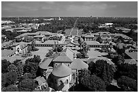 Aerial view of Memorial Church, Main Quad, and Oval. Stanford University, California, USA ( black and white)