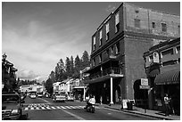 Brick building and main street, Placerville. California, USA ( black and white)