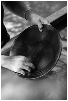 Hands holding pan, Gold Bug Mine, Placerville. California, USA ( black and white)