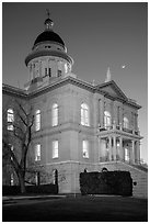 Placer County Courthouse and crescent moon, Auburn. Califoxrnia, USA ( black and white)
