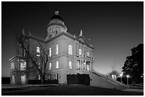 Placer County Courthouse at dusk with crescent moon, Auburn. Califoxrnia, USA ( black and white)