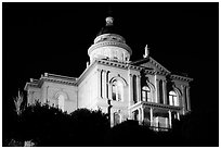 Placer County Courthouse at night, Auburn. Califoxrnia, USA ( black and white)