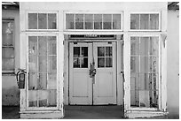 Door of old building, La Paz, Cesar Chavez National Monument, Keene. California, USA ( black and white)