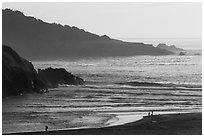 Coastline at Jug Handle Creek outlet. Fort Bragg, California, USA ( black and white)