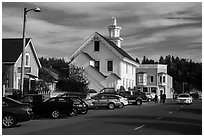 Street and church. Mendocino, California, USA ( black and white)