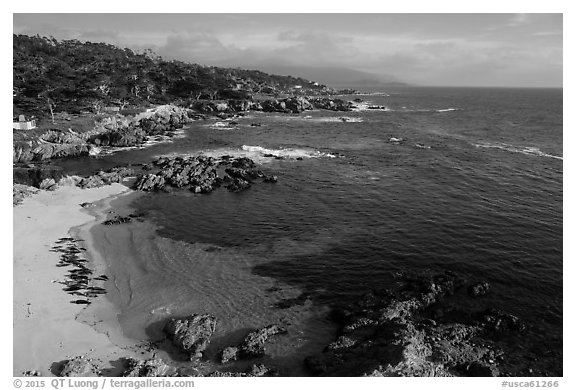 Aerial view of beach and costline, Cypress Point. Pebble Beach, California, USA (black and white)