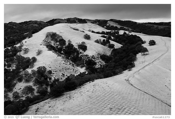 Aerial view of Evergreen Hills covered by hail. San Jose, California, USA (black and white)