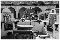 Outdoor altars and cross. California, USA ( black and white)