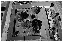 Aerial view of the four walls of Mission San Miguel. California, USA ( black and white)
