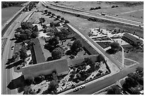 Aerial view of Mission San Miguel between railroad and highway. California, USA ( black and white)