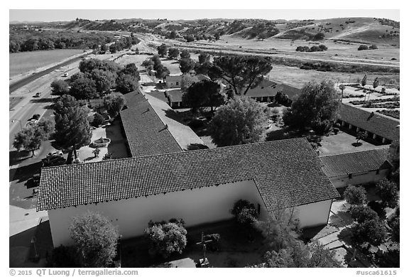 Aerial view of Mission San Miguel. California, USA (black and white)