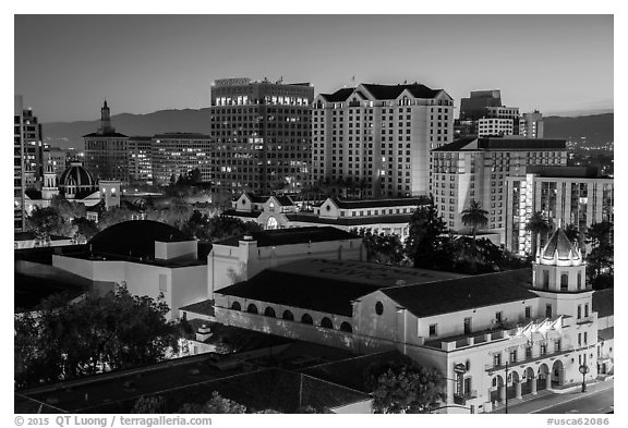 City National Civic and city skyline at night. San Jose, California, USA (black and white)