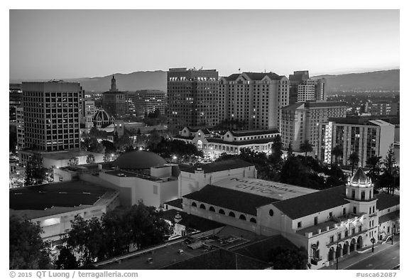 City National Civic and city skyline at dawn. San Jose, California, USA (black and white)