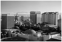 San Jose skyline with early morning fog over hills. San Jose, California, USA ( black and white)