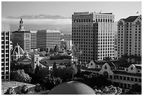 San Jose landmark buildings around Plaza de Cesar Chavez. San Jose, California, USA ( black and white)