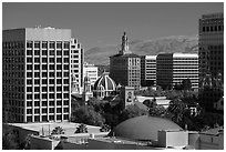 San Jose landmark downtown buildings. San Jose, California, USA ( black and white)