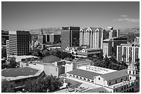 San Jose skyline above Plaza de Cesar Chavez from above. San Jose, California, USA ( black and white)