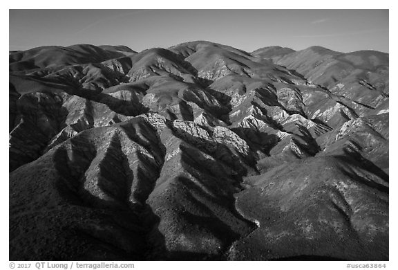 Aerial view of Temblor Range with patches of wildflowers. Carrizo Plain National Monument, California, USA (black and white)