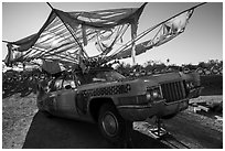 Car transformed into artwork, Slab City. Nyland, California, USA ( black and white)