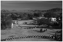 Art installations and dwellings, Slab City. Nyland, California, USA ( black and white)