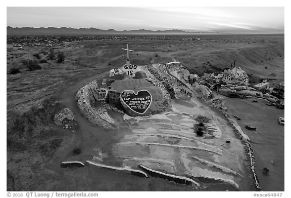Aerial view of Salvation Mountain at sunrise. Nyland, California, USA (black and white)