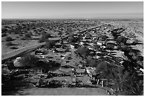 Aerial view of East Jesus sculpture garden. Nyland, California, USA ( black and white)