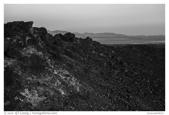 Rim of Amboy Crater at sunset. Mojave Trails National Monument, California, USA (black and white)