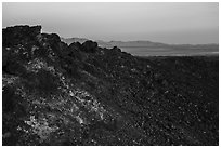 Rim of Amboy Crater at sunset. Mojave Trails National Monument, California, USA ( black and white)