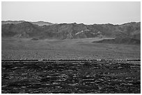 Freigh train and desert mountains. Mojave Trails National Monument, California, USA ( black and white)