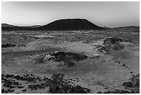 Amboy Crater at dawn. Mojave Trails National Monument, California, USA ( black and white)