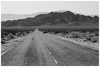 Road and mountains. Mojave Trails National Monument, California, USA ( black and white)