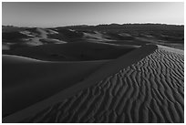 Ripples on dunes, Cadiz Sand Dunes. Mojave Trails National Monument, California, USA ( black and white)