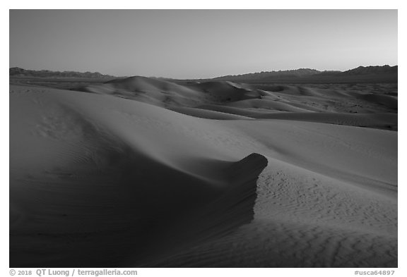 Cadiz Wilderness Sand Dunes and Shiphole Mountains at dusk. Mojave Trails National Monument, California, USA (black and white)