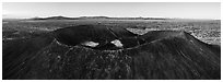 Aerial panoramic view of Amboy Crater and Bullion Mountains at sunrise. Mojave Trails National Monument, California, USA ( black and white)