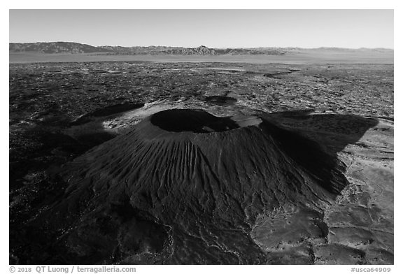 Aerial view of Amboy Crater and Bullion Mountains. Mojave Trails National Monument, California, USA (black and white)