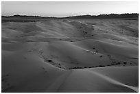 Aerial view of Cadiz Dunes Wilderness at dusk. Mojave Trails National Monument, California, USA ( black and white)