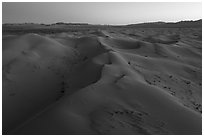 Aerial view of pristine Cadiz dunes at dusk. Mojave Trails National Monument, California, USA ( black and white)