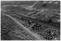 Aerial view of road and railroad tracks, Afton Canyon. Mojave Trails National Monument, California, USA ( black and white)